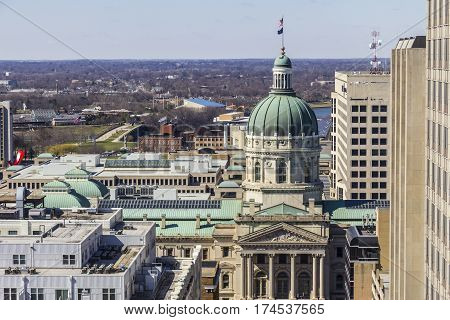 Indianapolis - Circa March 2017: Indiana State House and Capitol Dome. It houses the Governor, Assembly, and Supreme Court IV