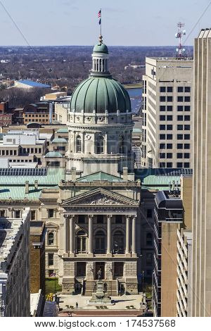 Indianapolis - Circa March 2017: Indiana State House and Capitol Dome. It houses the Governor, Assembly, and Supreme Court III