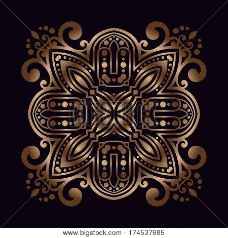 art vintage damask pattern openwork in bronze on a black background