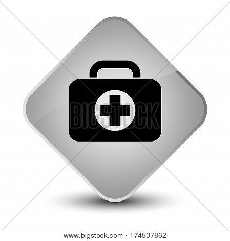 First Aid Kit Bag Icon Elegant White Diamond Button
