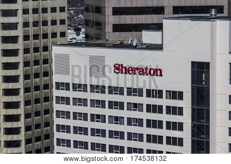 Indianapolis - Circa March 2017: Sheraton Indianapolis Hotel Downtown. Sheraton is Part of Marriott International III
