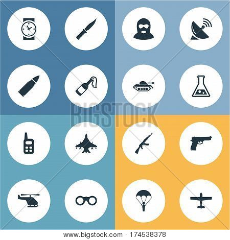 Set Of 16 Simple Army Icons. Can Be Found Such Elements As Field Glasses, Ammunition, Chemistry And Other.