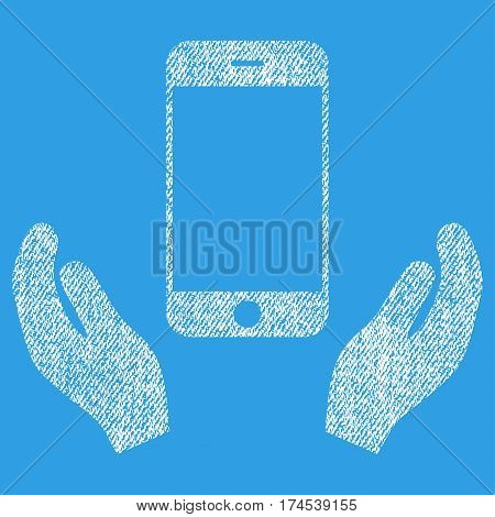Smartphone Care Hands vector textured icon for overlay watermark stamps. Fabric white vectorized texture. Symbol with dirty design. Rubber seal stamp with fiber textile structure.