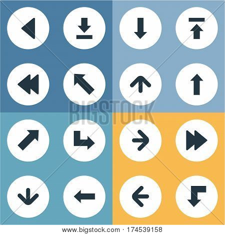Set Of 16 Simple Cursor Icons. Can Be Found Such Elements As Let Down, Reduction, Left Direction And Other.