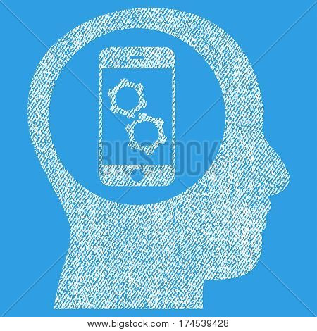 Smartphone Mind Control vector textured icon for overlay watermark stamps. Fabric white vectorized texture. Symbol with unclean design. Rubber seal stamp with fiber textile structure.