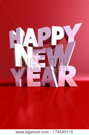 3D renderig Happy New year in white rendered letters on a red background
