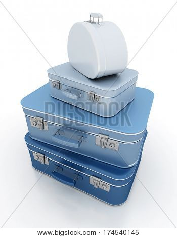 3D rendering Rendering of a pile of blue luggage with a retro look