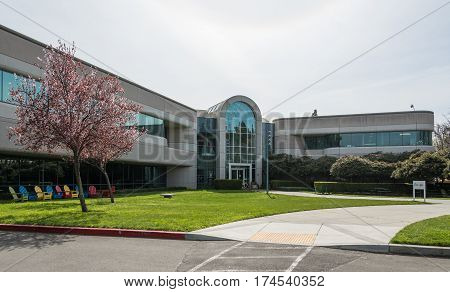 Mountain View CA USA - March 3 2017 - The entrance to the lobby of Building 44 on Google Campus in Mountain View CA USA on March 3rd 2017.