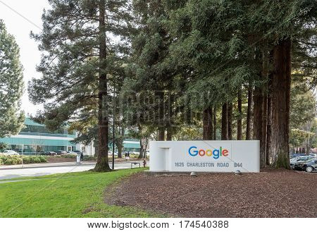 Mountain View CA USA - March 3 2017 - The sign for Google Building 44 on Google Campus in Mountain View CA USA on March 3rd 2017.