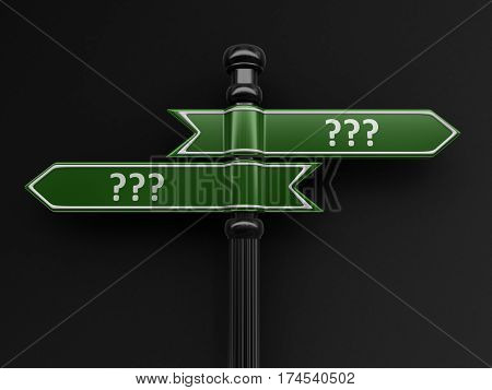 3D Illustration. Questions pointers on signpost. Image with clipping path