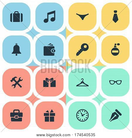 Set Of 16 Simple Accessories Icons. Can Be Found Such Elements As Gift, Billfold, Fragrance And Other.