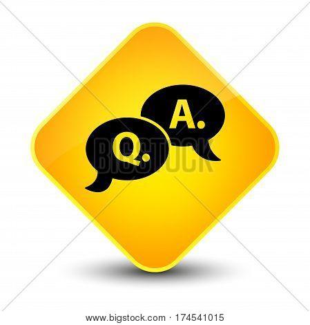 Question Answer Bubble Icon Elegant Yellow Diamond Button