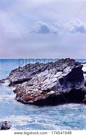 An Ocean-Based Rock On The Sunny South Shores of The Beautiful Kauai, Hawaii