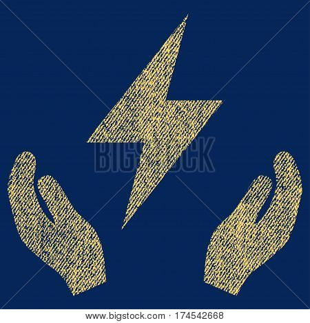 Electricity Maintenance Hands vector textured icon for overlay watermark stamps. Fabric yellow vectorized texture. Symbol with unclean design. Rubber seal stamp with fiber textile structure.
