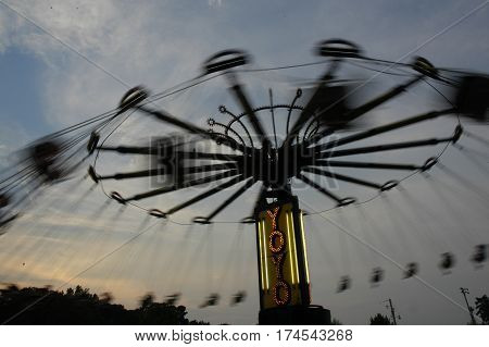 Swinging Chair Ride at a fall carnival in arkansas
