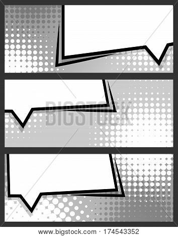 Collection abstract creative hand drawn vector colored blank bubble. Comic speech balloon on halftone dot background pop art style. Comic book text dialog empty cloud. For sale banner set.