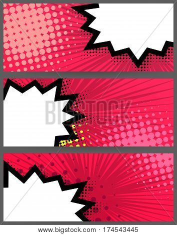 Comic speech balloon on halftone dot background pop art style. Collection abstract creative hand drawn vector colored blank bubble. Comic book text dialog empty cloud. For sale banner set.