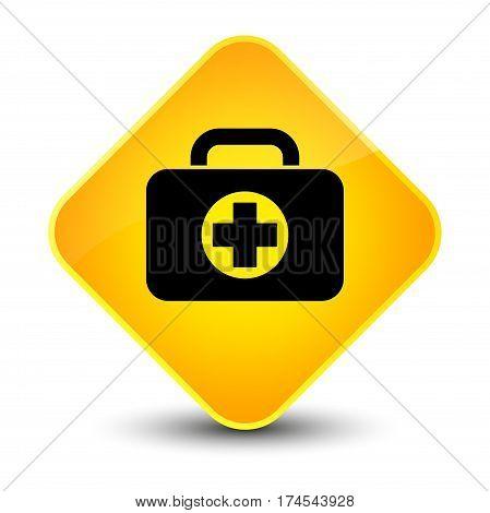 First Aid Kit Bag Icon Elegant Yellow Diamond Button