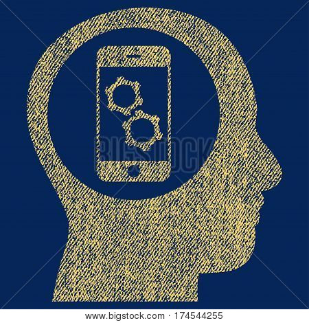 Smartphone Mind Control vector textured icon for overlay watermark stamps. Fabric yellow vectorized texture. Symbol with dirty design. Rubber seal stamp with fiber textile structure.