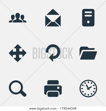 Set Of 9 Simple Application Icons. Can Be Found Such Elements As Community, Printout, Refresh And Other.