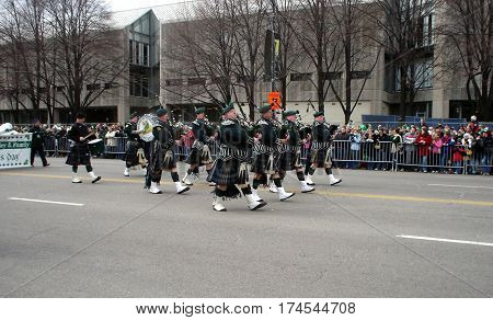 Irish Bagpipers Marching and Playing in the Chicago Saint Patrick's Day parade March 15th, 2008