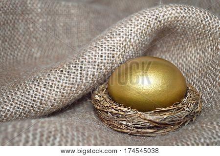 Easter card: Golden Easter egg in the nest on canvas