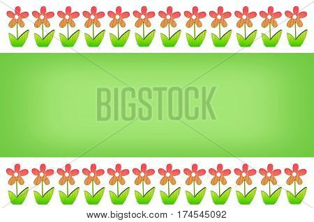 Holrizontal empty Easter background with flowery borders