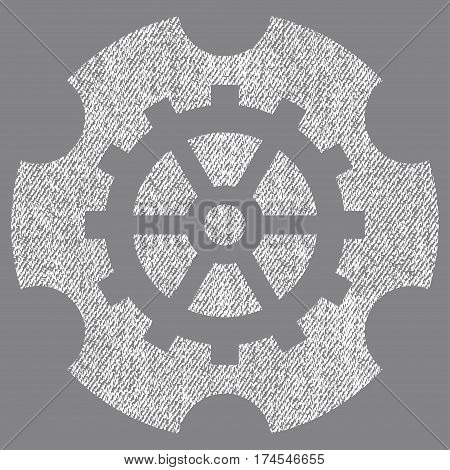 Gearwheel vector textured icon for overlay watermark stamps. Fabric white vectorized texture. Symbol with dust design. Rubber seal stamp with fiber textile structure.
