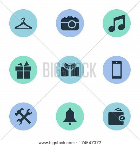Set Of 9 Simple Accessories Icons. Can Be Found Such Elements As Billfold, Ring, Gift And Other.