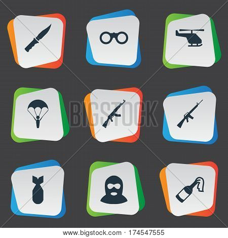 Set Of 9 Simple Military Icons. Can Be Found Such Elements As Helicopter, Nuke, Kalashnikov And Other.
