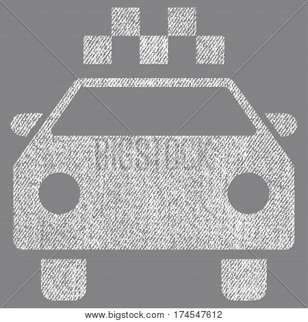 Taxi Automobile vector textured icon for overlay watermark stamps. Fabric white vectorized texture. Symbol with unclean design. Rubber seal stamp with fiber textile structure.