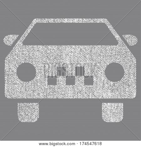 Taxi Car vector textured icon for overlay watermark stamps. Fabric white vectorized texture. Symbol with dust design. Rubber seal stamp with fiber textile structure.