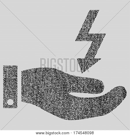 Electric Energy Service Hand vector textured icon for overlay watermark stamps. Fabric black vectorized texture. Symbol with dirty design. Rubber seal stamp with fiber textile structure.
