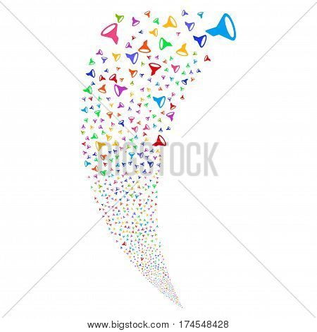 Filter random fireworks stream. Vector illustration style is flat bright multicolored iconic symbols on a white background. Object fountain constructed from scattered pictographs.