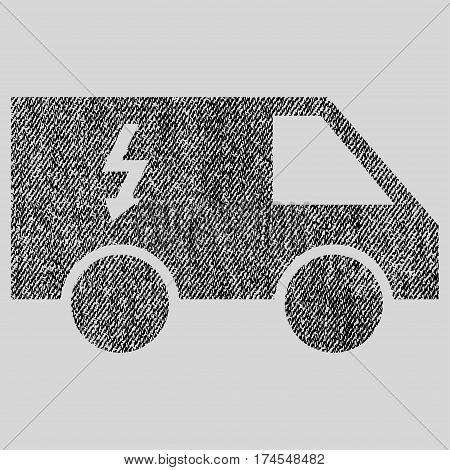 Electrical Car vector textured icon for overlay watermark stamps. Fabric black vectorized texture. Symbol with dust design. Rubber seal stamp with fiber textile structure.