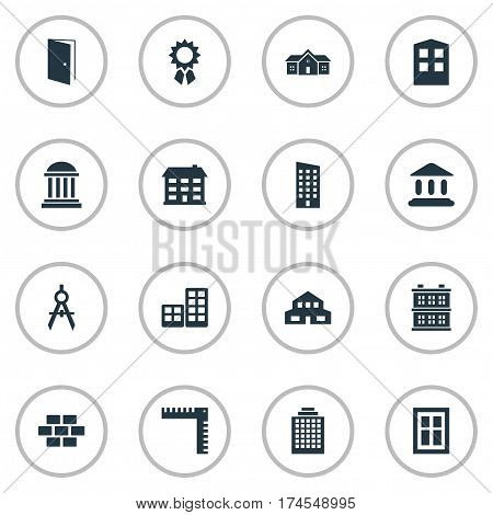 Set Of 16 Simple Structure Icons. Can Be Found Such Elements As Floor, Offices, Residential And Other.