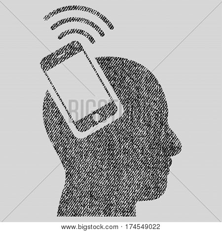 Head Smartphone Plugin Ring vector textured icon for overlay watermark stamps. Fabric black vectorized texture. Symbol with unclean design. Rubber seal stamp with fiber textile structure.