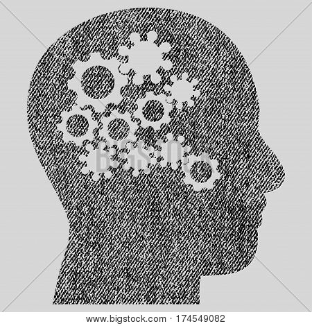 Human Mind Gears vector textured icon for overlay watermark stamps. Fabric black vectorized texture. Symbol with dust design. Rubber seal stamp with fiber textile structure.