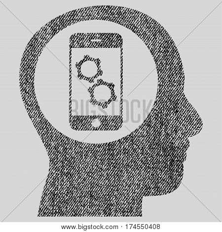 Smartphone Mind Control vector textured icon for overlay watermark stamps. Fabric black vectorized texture. Symbol with dirty design. Rubber seal stamp with fiber textile structure.