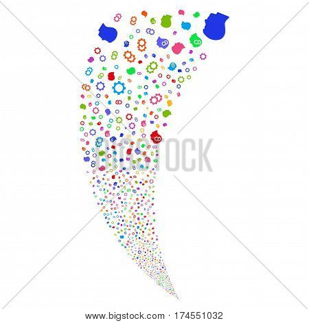 Intellect Gears random fireworks stream. Vector illustration style is flat bright multicolored iconic symbols on a white background. Object fountain constructed from scattered pictographs.