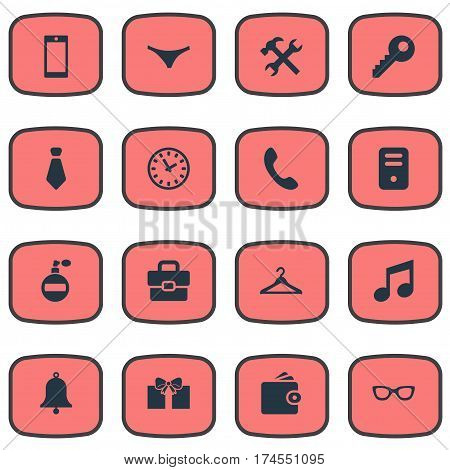 Set Of 16 Simple  Icons. Can Be Found Such Elements As Call Button, Cravat, Gift And Other.
