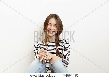 Human Facial Expressions And Emotions. Attractive Young Caucasian Female Dressed Casually Spending W