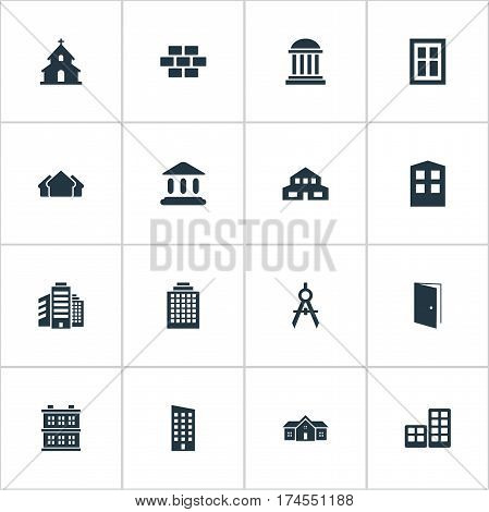 Set Of 16 Simple Structure Icons. Can Be Found Such Elements As Construction, Academy, Popish And Other.