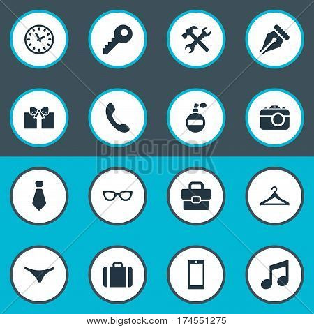 Set Of 16 Simple Accessories Icons. Can Be Found Such Elements As Repair, Cravat, Music And Other.