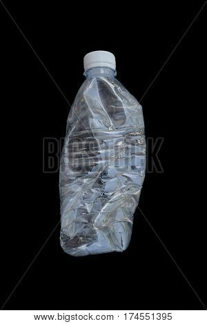Waster plastic bottles on black background , recycle