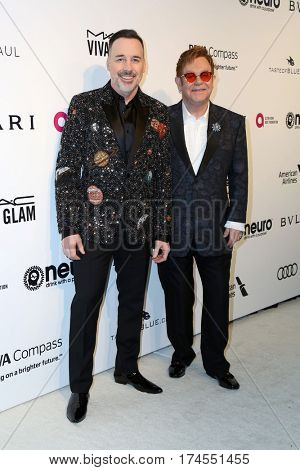 LOS ANGELES - FEB 26:  David Furnish, Elton John at the 25the Annual Elton John Academy Awards Viewing Party at the  City of West Hollywood Park on February 26, 2017 in West Hollywood, CA