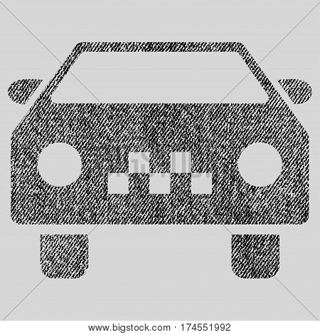 Taxi Car vector textured icon for overlay watermark stamps. Fabric black vectorized texture. Symbol with dust design. Rubber seal stamp with fiber textile structure.
