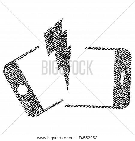 Broken Smartphone vector textured icon for overlay watermark stamps. Fabric black vectorized texture. Symbol with dust design. Rubber seal stamp with fiber textile structure.