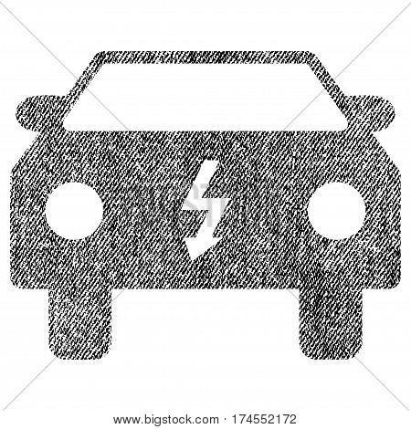 Electric Car vector textured icon for overlay watermark stamps. Fabric black vectorized texture. Symbol with scratched design. Rubber seal stamp with fiber textile structure.