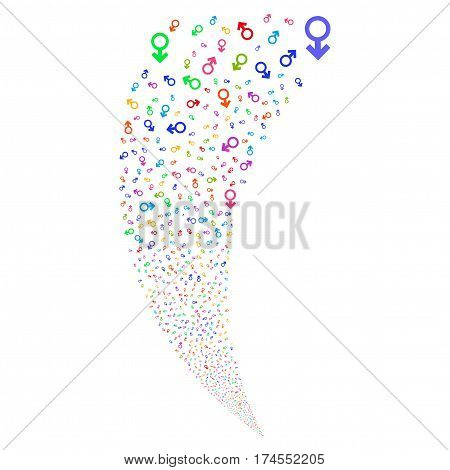 Mars Symbol random fireworks stream. Vector illustration style is flat bright multicolored iconic symbols on a white background. Object fountain combined from scattered symbols.